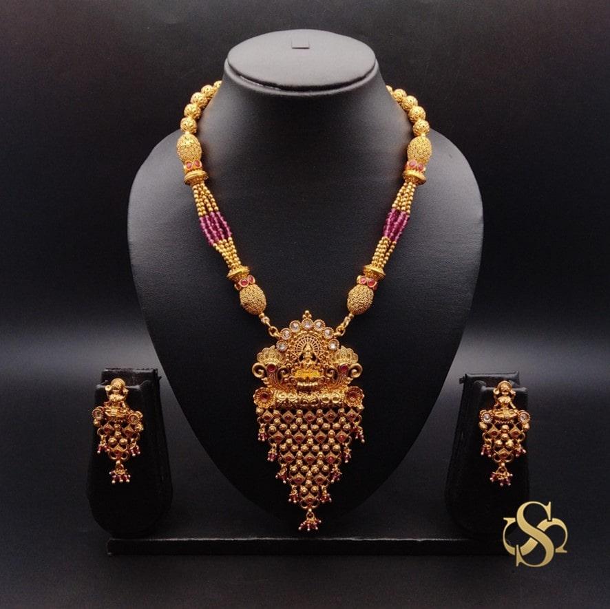 Buy-Polki-Temple-Pendant-Set-Online-India