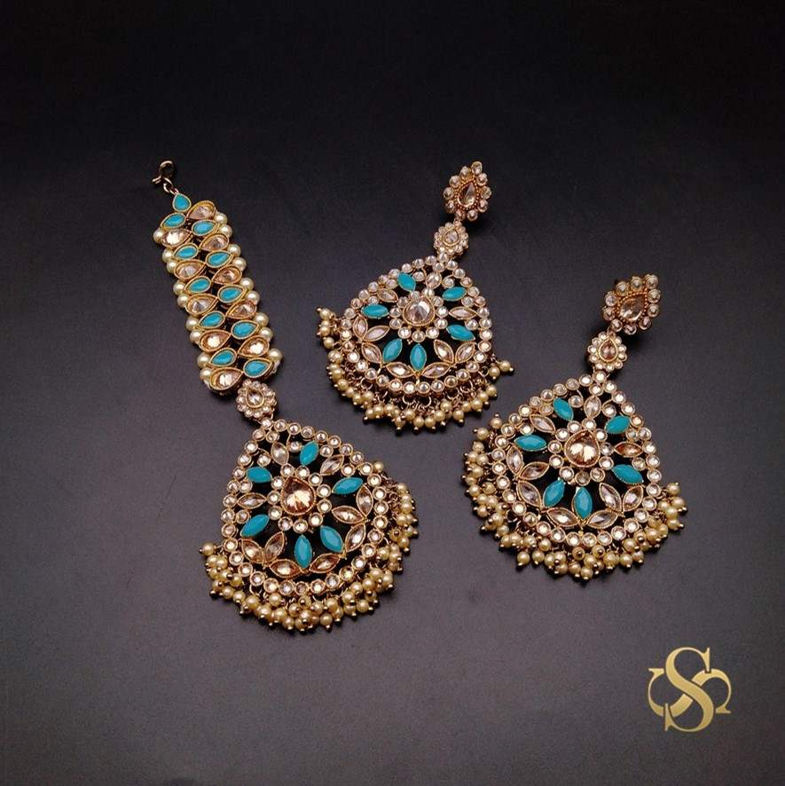 Buy-Polki-Earrings-&-Tika-Online-India